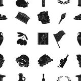 Greece pattern icons in black style. Big collection of Greece vector symbol stock illustration Stock Image