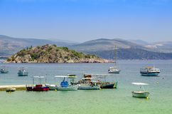 Greece,Peloponesse,Tolo town, near Nafplion city. View of the sea with fishing boats stock photo