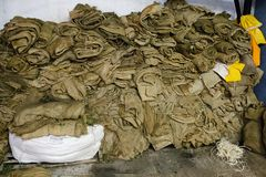 Empty sacks, olive oil mill in Greece Stock Image