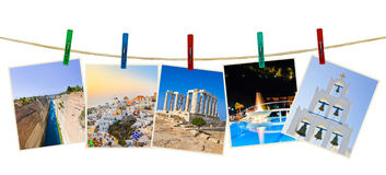 Greece photography on clothespins Stock Photo