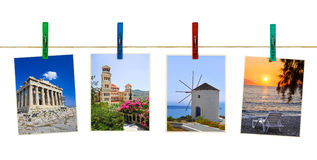 Greece photography on clothespins Royalty Free Stock Images