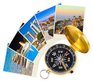 Greece photography and compass Stock Images