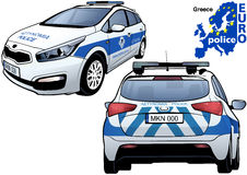 Greece Police Car. Colored Illustration from Series Euro police, Vector Stock Image