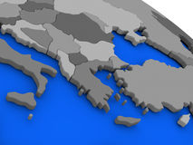 Greece on political Earth model Stock Images