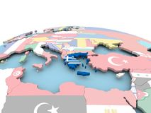 Flag of Greece on bright globe. Greece on political globe with embedded flags. 3D illustration Stock Image