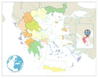Greece Political Map Isolated on White. No text Stock Photos