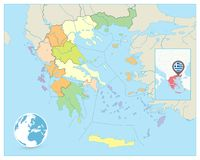 Greece Political Map. No text Royalty Free Stock Image