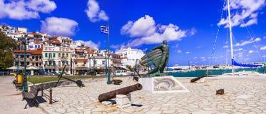Greece, popular Skopelos island. Old port. Sporades stock photo