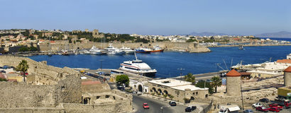 greece port rhodes Royaltyfria Foton