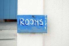 Greece - quartos deixar o sinal Foto de Stock Royalty Free