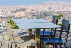 Greece. The restaurant overlooks the Greek Acropolis Royalty Free Stock Photo