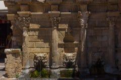 greece rethymno Lipiec 26 2016: Rimondi fontanna Fotografia Royalty Free