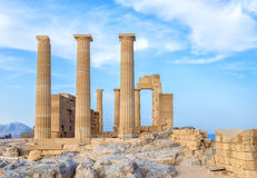 Greece. Rhodes. Acropolis of Lindos. Doric columns of the ancient Temple of Athena Lindia the IV century BC Stock Images