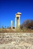 Greece, Rhodes, Acropolis, temple ruins Stock Photography