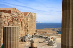 Greece, Rhodes, Acropolis, temple ruins Royalty Free Stock Photography