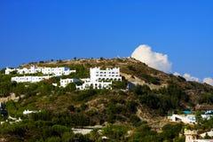 Greece, Rhodes, building at hill top Stock Photos