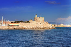Greece. Rhodes.City landscape in a sunny day Stock Photos