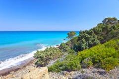 Greece,Rhodes,  coastline of Mediterranean sea . Stock Photo
