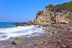 Greece,Rhodes, coastline of Mediterranean sea . royalty free stock photos
