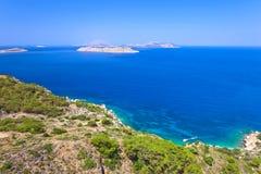 Greece,Rhodes, coastline of Mediterranean sea . stock images