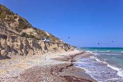Greece,Rhodes, coastline of Mediterranean sea . stock photography