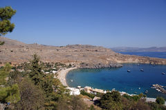 Greece, Rhodes Island, Lindos, view at the acropolis Royalty Free Stock Photography
