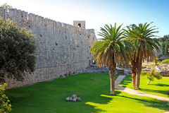 Greece, Rhodes Wall of ancient city. Landscape in a sunny day Stock Images
