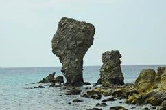 Greece, rocks in Aegean sea, Lemnos. Greece, rock formation in Agios Ioannis on Lemnos Island royalty free stock images