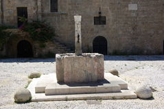 Greece, Rodos. Greece Rodos, Rodos town, old castle by Order of Malta, Fountain Stock Photo