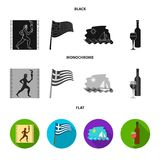 Greece, running, wine, flag .Greece set collection icons in black, flat, monochrome style vector symbol stock. Illustration Stock Photo