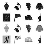 Greece, running, wine, flag .Greece set collection icons in black,monochrome style vector symbol stock illustration web. Greece, running, wine, flag .Greece set Stock Photo
