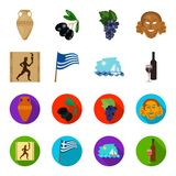 Greece, running, wine, flag .Greece set collection icons in cartoon,flat style vector symbol stock illustration web. Greece, running, wine, flag .Greece set Stock Photos