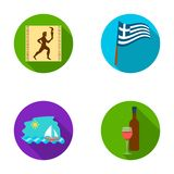 Greece, running, wine, flag .Greece set collection icons in flat style vector symbol stock illustration web. Greece, running, wine, flag .Greece set collection Stock Photos