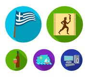 Greece, running, wine, flag .Greece set collection icons in flat style vector symbol stock illustration web. Greece, running, wine, flag .Greece set collection Stock Images