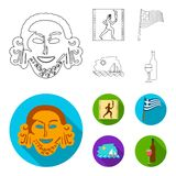 Greece, running, wine, flag .Greece set collection icons in outline,flat style vector symbol stock illustration web. Greece, running, wine, flag .Greece set Stock Image