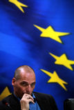 Greece's Finance Minister Yanis Varoufakis during a joint press Stock Photos