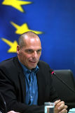 Greece's Finance Minister Yanis Varoufakis during a joint press Royalty Free Stock Images