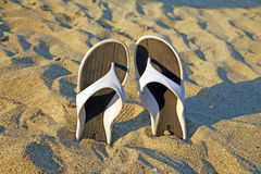 Greece - sandals. Sandals in the sand, beach in Greece Royalty Free Stock Images