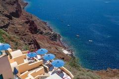 greece santorini Caldera, hav och arkitektur fotografering för bildbyråer