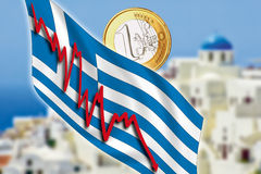 Greece, Santorini, grexit, Euro coin, flag. Greece, Santorini, grexit concept with Euro coin, flag and downwards graph Royalty Free Stock Image