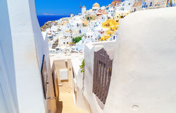 Greece Santorini island in Cyclades, traditional sights of colorful and white washed walk paths like narrow streets and Stock Photo