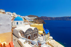 Greece Santorini island in Cyclades, traditional sights of colorful and white washed walk paths like narrow streets and. Caldera sea Royalty Free Stock Images