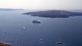 Greece, Santorini Island: Inner bay. Greece, Santorini Island: Top view of the inner bay of September 12, 2016 Royalty Free Stock Photos
