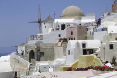 Greece Santorini Island, mills. view. Cities. Relax Royalty Free Stock Photo