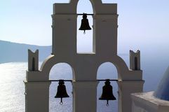 Greece santorini lagoon with bells Stock Photo