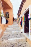 Greece, Santorini - October 01, 2017: vacationing people on the narrow streets of white cities on the island. Stock Image