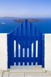 greece santorini som visar vulkan Royaltyfri Bild