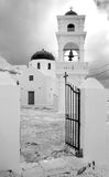 Greece. Santorini. Town of Fira. Classical church. Greece. Santorini. Town of Fira. Classical greek church in black and white royalty free stock photography