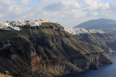 Greece. Santorni. View on precipitous caldera Royalty Free Stock Photos