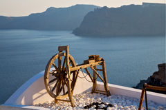 Greece in   sea and spinning wheel Stock Photo